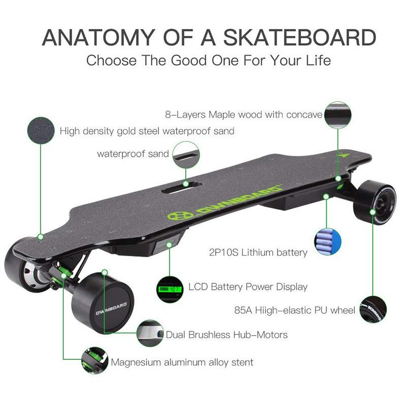 Longboard Cruiser Skateboard Augmentée Double Moteur électrique avec télécommande