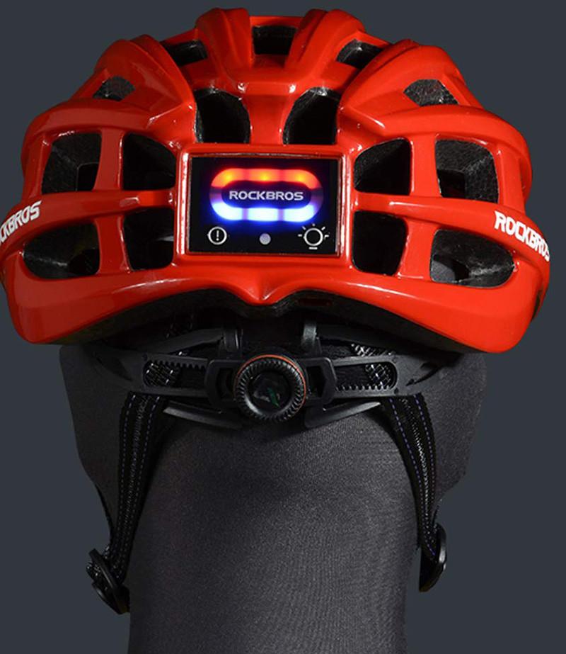 ROCKBROS Casque Vélo VTT Casque Lumineaux Feu Ajustable 57-62 cm pour Homme Femme