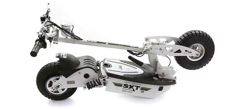 SXT scooters Trotinnette électrique 1000 W Turbo Noire Batterie Plomb 12 Ah