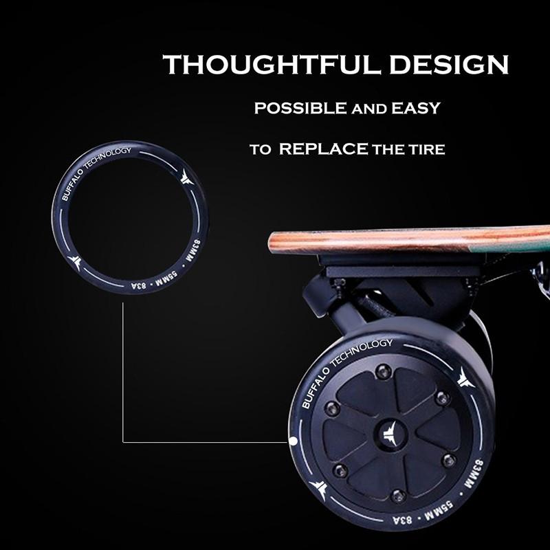 Buffalo Electric Double hub Skate - Planche 25 mph avec LED télécommande Bluetooth