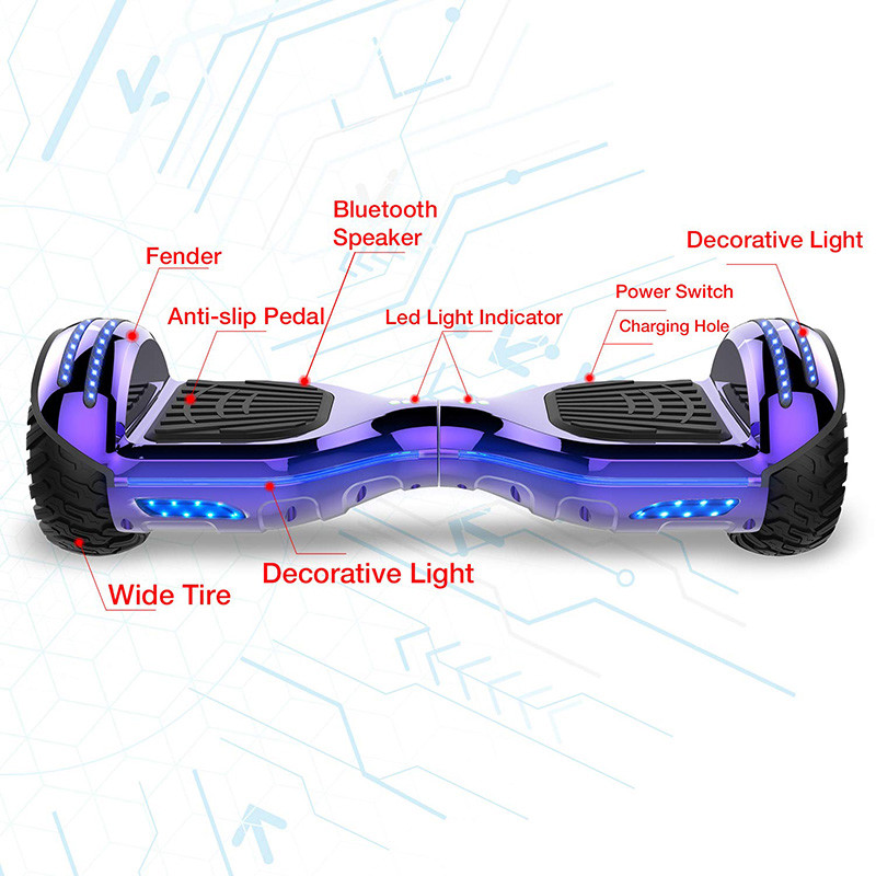 Mega Motion Self Balance Scooter 6.5 pouces ,Scooter électrique Self Balance,Roues LED RGB