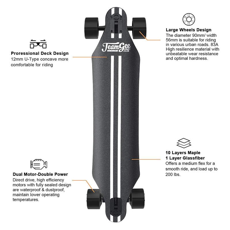Teamgee H5 - Skateboard Longboard Électrique