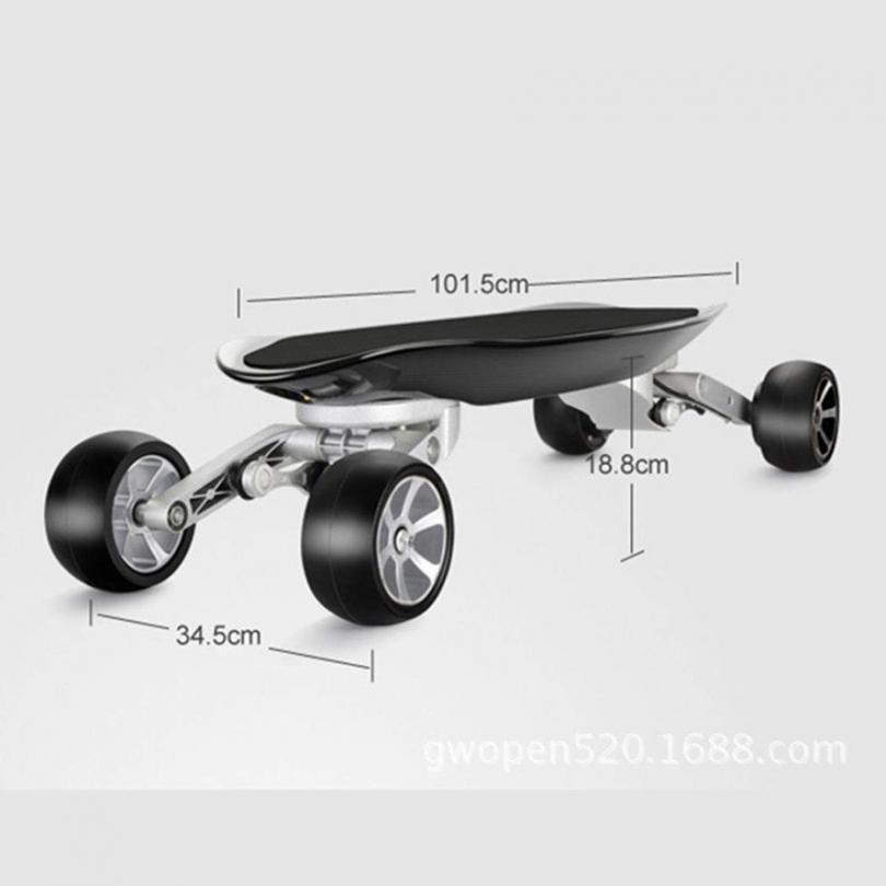 Test Wu's Skateboard Électrique Aux Quatre Roues, Longboard Intégré, avec Télécommande