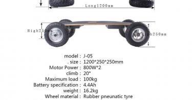 Comparatiif TIKENBST Skateboard électrique Tout-Terrain Intelligent Télécommande sans Fil