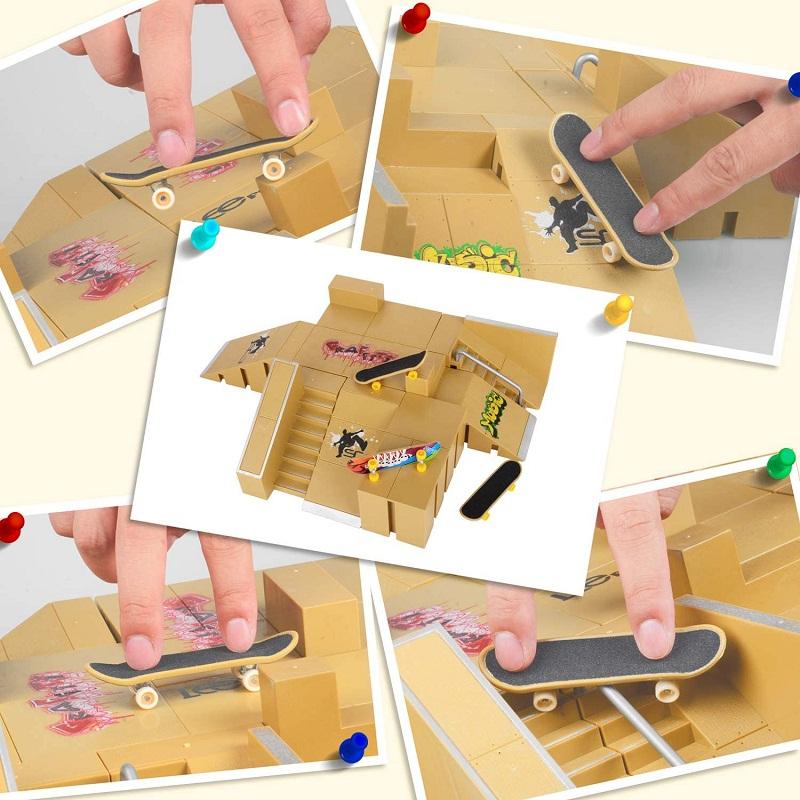 Avis - KidsHobby Mini Finger Skateboard Ramp Park Kit avec 8 Finger Board Site Skate Parties et 3 Planches à Doigts (Jaune Foncé)