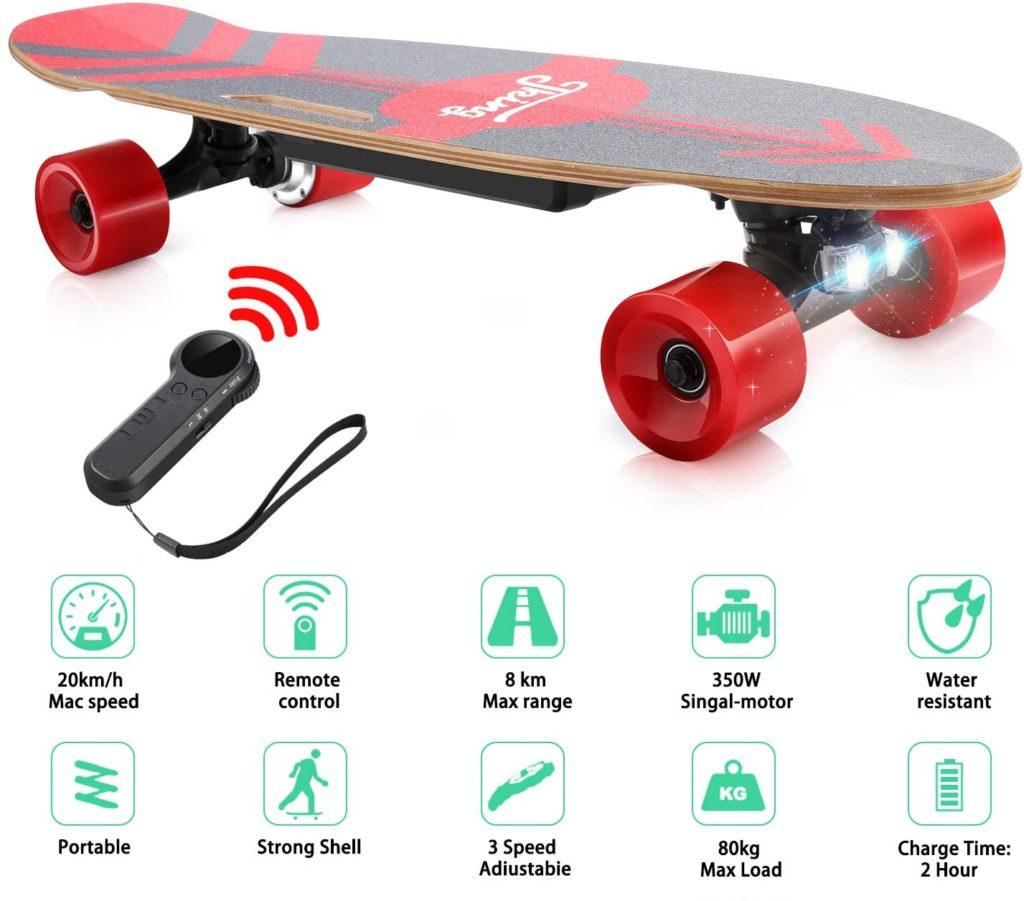 avis CAROMA Skateboard électrique avec télécommande LED sans fil
