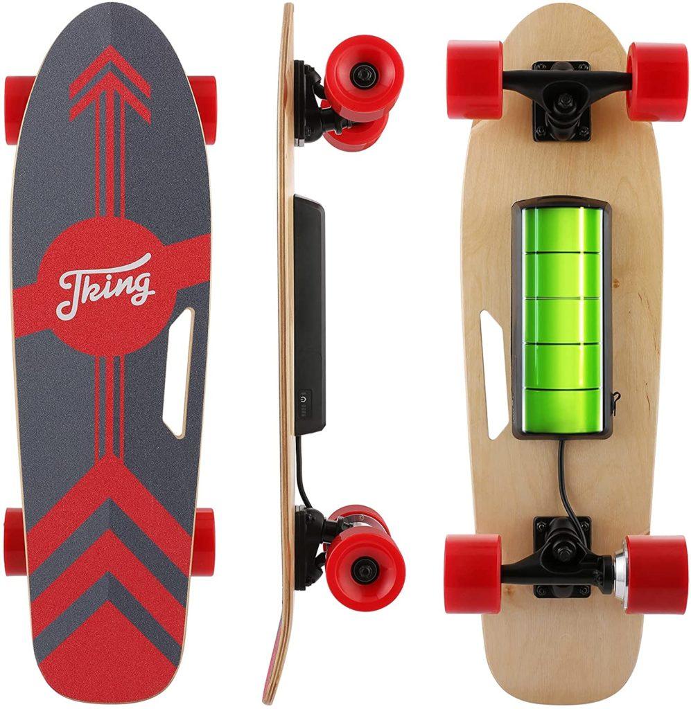 test CAROMA Skateboard électrique avec télécommande LED sans fil